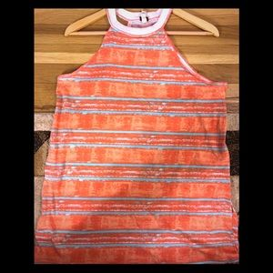WE THE FREE STRIPED ORANGE AND GREEN TUNIC TANK